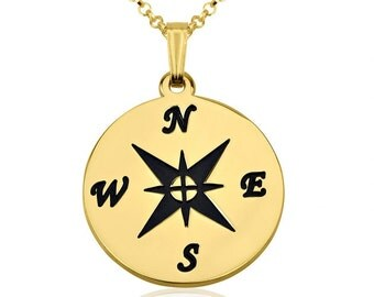 24K Gold Plated  Compass Necklace with chain