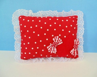 Red Polka Dot Pillow , Red Dot Tooth Fairy Pillow, Doll Pillow , Polka Dot Decor , Can Be PERSONALIZED