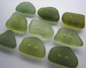 GENUINE SEA GLASS 15mm Buttons 9 Flawless Olive Green Real Surf Tumbled Natural Greek Beach Seaglass Sewing Knitting Button Beads  But 158a