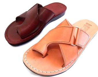 SALE ! New Leather Sandals Ny BROOKLYN Bridge Men's Shoes Flip Flops Flats Slides Slippers Biblical Bridal Wedding Colored Footwear Designer