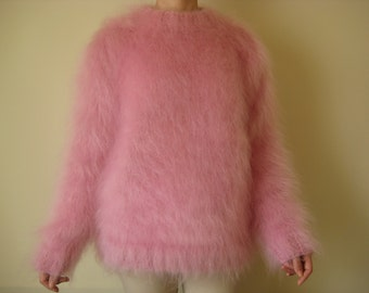 Made to Order hand knitted mohair pink sweater S,M L XL