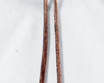 Hammered Copper Dangle Earrings
