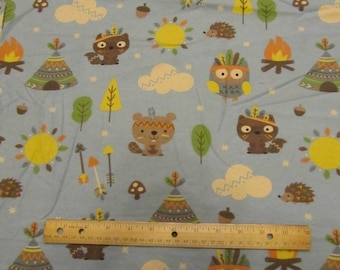 Blue Woodland Animals/Tribal/Bear/Owl/Racoon/Hedgehog Flannel Fabric by the Yard