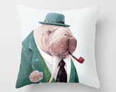 Animal Throw Pillow, Walrus Decor, Walrus Pillow, Animals on Cushions, Animal Pillow, Cushion Cover, Stuffed Pillow, WALRUS PILLOW