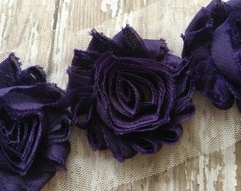 "3 pc - Eggplant Purple ** Shabby Flower Trim Chiffon Rosettes - Each flower measures 2.5"""