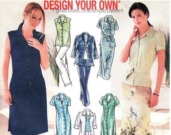 Simplicity Separates Pattern 7129 - Misses' Shirt-Dress in Two Lengths, Shirt, Skirt and Pants - Sz 6/8/10/12