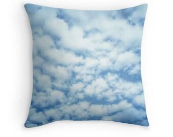 Clouds Pillow, Cloud Toss Pillow, Sky Pillow, Cloud Picture, Sky Photography, Blue Sky Print, Clouds Picture, Sky Print, Cloud Photography