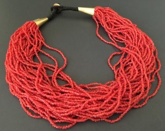 Vintage Red GLASS Beaded Torsade Necklace - Multi Strand Seed Choker -1970s Jewelry - Made in India