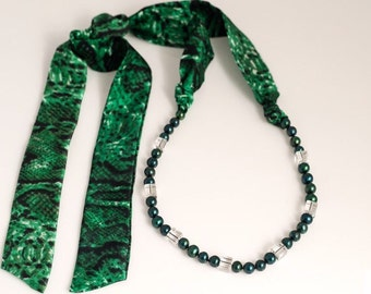 Emerald green pearl, crystal and silk ribbon necklace- versatile, unique, one if a kind textile jewelry