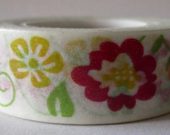 """CLEARANCE Washi Tape Floral """"Whimsical""""  10 meters"""