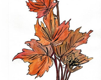 Original Art - Watercolor and Ink Painting - Fall Leaves Nature Art