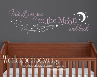 Love You To The Moon And Back Wall Art star moon wall decal nursery wall art star and moon