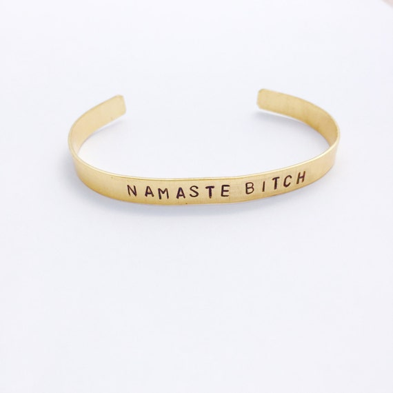 Namaste Bit** Bracelet - Yoga Jewelry - Hand Stamped Cuff Bracelet- Namaste - Gifts for Her - Customizable - Personalized