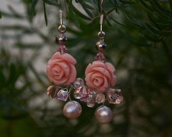 ON SALE Pink Bridal Earrings,Roses Earrings,Pearls Earrings,Wedding Jewelry,Flower Earrings,Flower Jewelry,Garden Wedding handmade by CyShel
