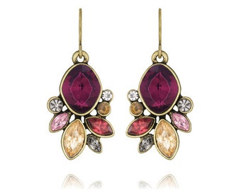 Fall Bouquet Rouge Amethyst and Swarovki Crystal Drop Earrings