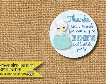Frozen Elsa Birthday Party Thank You Favor Tag (Personalized, DIY, 2x2 Printable)