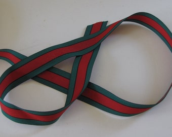 """Gucci Ribbon Green-Red-Green 1"""" wide Woven Millinery Grosgrain   - By the Yard"""