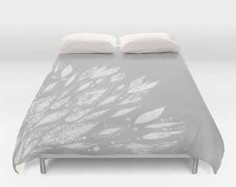 Grey White Duvet Cover, grey duvet cover, gray duvet cover, white duvet cover, grey bed cover, gray bed cover, grey bedding, gray bedding