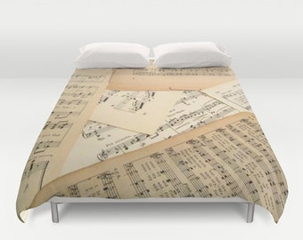 Vintage Sheet Music Duvet Cover, vintage style duvet, music bedding, music bed cover, music duvet cover, music bedroom, music home decor