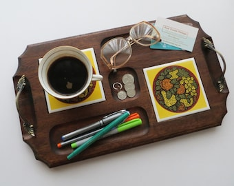 70s Walnut Desk Organizer, Woodgrain Office Supplies Storage, Key and Coin Tray, Repurposed Cheese Board with Brass Handles