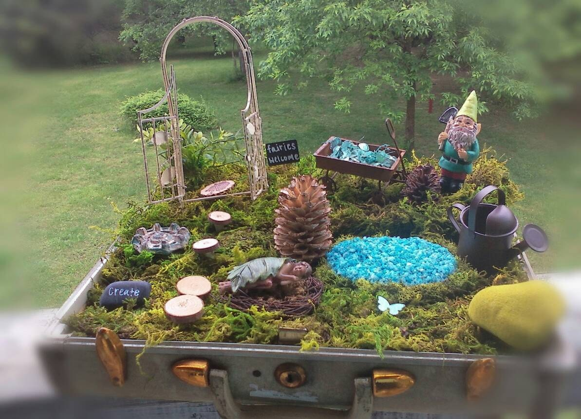 Complete Fairy Garden Kit with Container Handmade Items