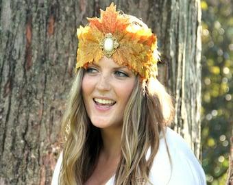 Autumn Queen fall leaf crown, fall headpiece, autumn headpiece, fall leaf headband, autumn leaves headpiece, fall fairy costume, leaf tiara