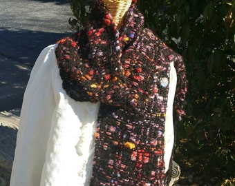 Stained glass inspired Handspun hand dyed black alpaca 6 foot long scarf.