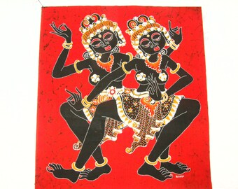 CEYLONESE DANCERS BATIK Bright Red - Handmade in Indonesia - Note the angles in their bodies and detailed clothing and headdresses