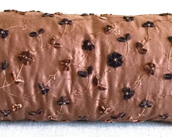 "Mocha-Colored Raw Silk Bolster Pillow with Velvet Flowers Made From Vintage Fabric, 32"" Long"