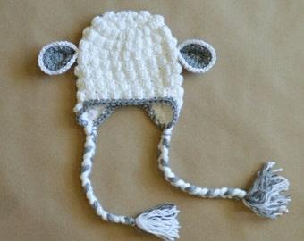Easter Lamb Earflap Hat Beanie Handmade Crochet Baby Toddler Boy Girl Photo Prop Custom Made