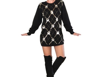 Black and Gold Sequin Sweater/ Sweater Tunic Dress/ Black Sweater Dress/ Gold Sequin Sweater/ Sweater Dress/ Sweater Tunic Silver Sequin