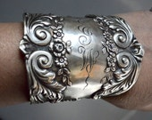 Baroque Antique Tiffany Victorian Floral Solid Sterling Silver 925 Wide Cuff Bracelet Chain Bracer Repurposed Statement Bangle Upcycle .925