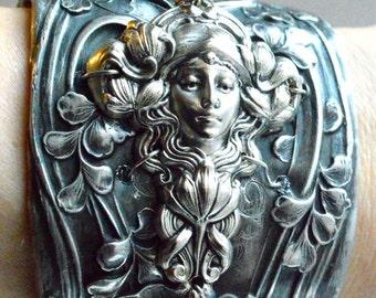 50 OFF SALE Antique Silver Goddess Maiden Floral Victorian Art Nouveau Repoussé Wide Floral Cuff Bracelet Wide Lady Face Lily Flowers Statem