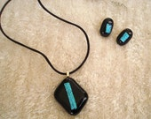 Dichroic and Fused Glass Pendant and Earring Set, Black and Turquoise