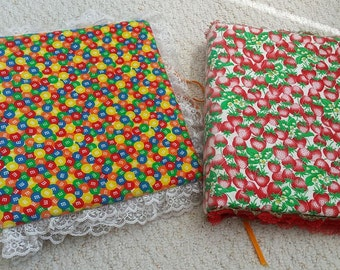 Binder Photo Albums, Scrapbooks, hand covered in M&Ms or Strawberries -- Fabrics and Lace Covered All Occasion Albums