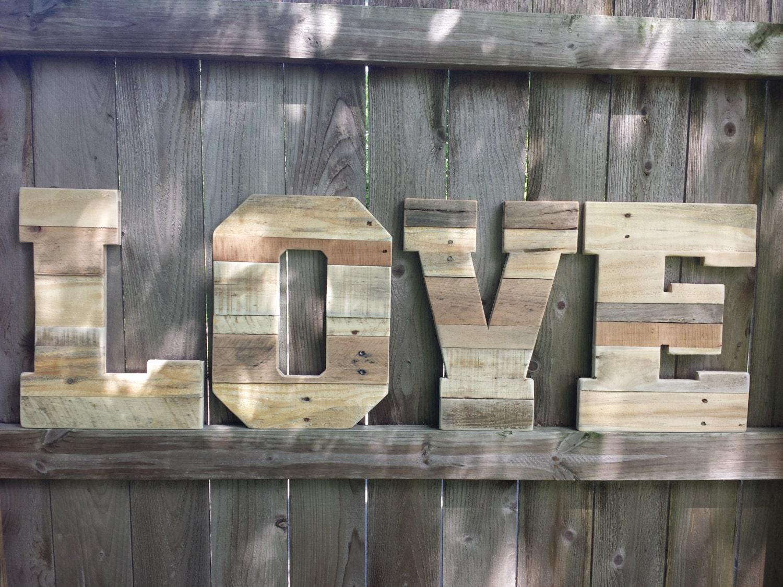 Wedding Decor Pallet Love Letters Reclaimed Wood Wooden