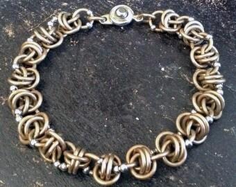 Bracelet CosmicLoveLinks Bracelet Brass Handwoven Rings sprinkled with Silver Beads Mixed Metals