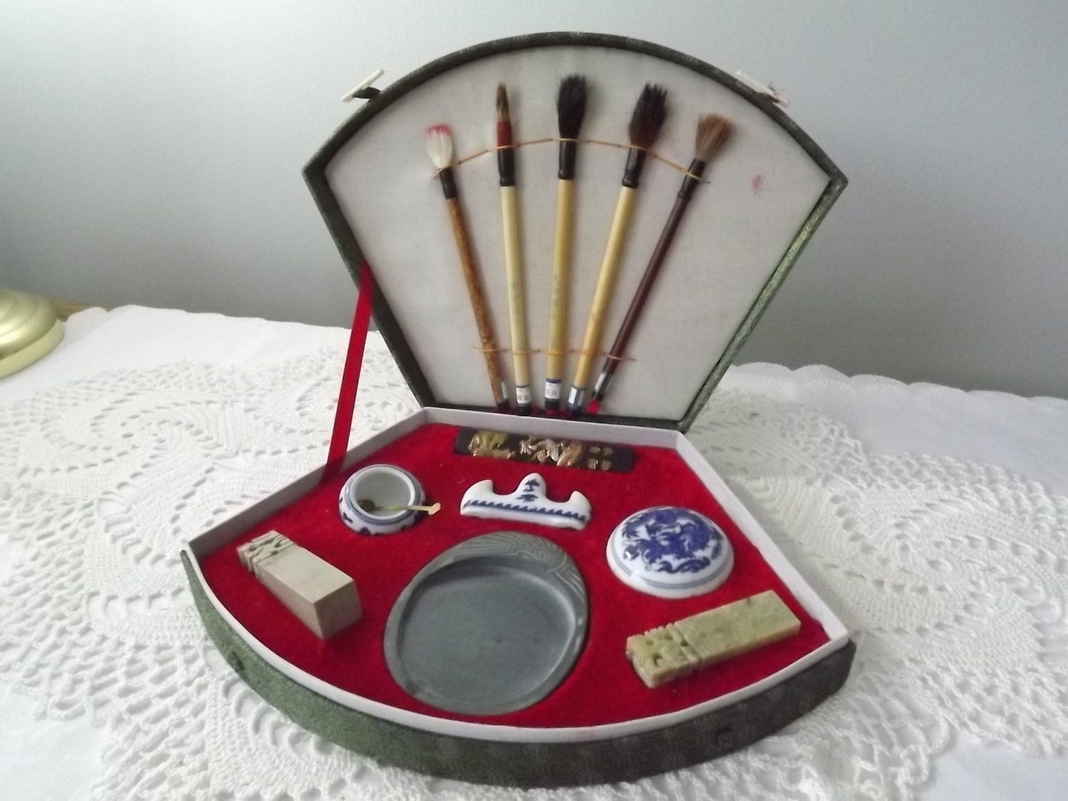 Vintage Chinese Calligraphy Paint Brush Set For The