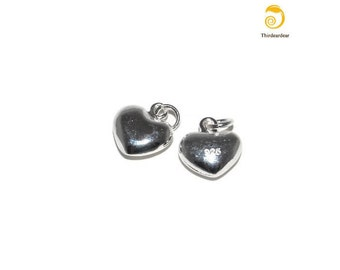 925 Sterling Silver Puffed Heart Charm for earrings, rings, bracelets, necklaces, pendants, belly rings and other pieces of silver jewelry