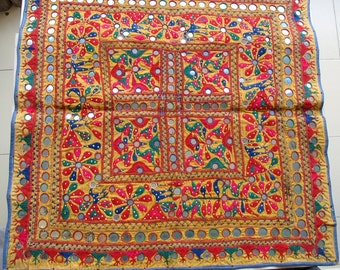 Vintage Tapestry Hand  Embroidered Kutchi Fabric Panel