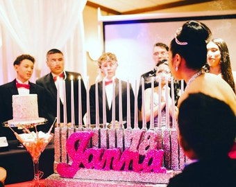 Bat mitzvah- bar mitzvah-Candle lighting ceremony-Quince-Sweet 16 Candelabra -party decor-Quinceanera- glitter name- Glitter candelabra-