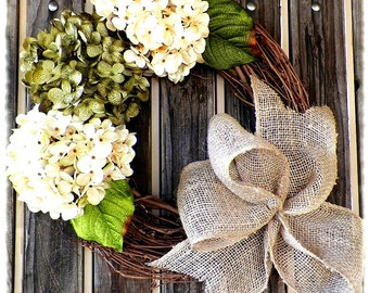 Green and Cream Hydrangea Wreath,Summer Wreath,Cream Hydrangea Wreath,Wreaths,Spring Wreath,SpringWreath,Summer Wreaths,Green Floral Wreath