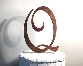 Wooden Wedding Cake Topper: Letter Q, Monogram Cake Topper, Rustic Cake Topper, Handmade Cake Topper