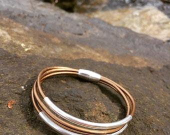 Bronze Multi Strand Leather Bracelet