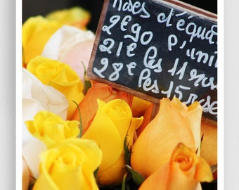 Paris photography - Paris roses (yellow, vertical) - Giclee Art Print,Home decor,Fine art photography,Paris decor,Art print,Art Poster,Gift