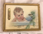 Vintage Advertising Picture 1920's Baby Thermometer Framed Clearbrook Lumber Yard