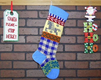 Plaid Hand Knit Christmas Stocking, Fair Isle Stocking with Blue Cuff and Grey Horse, Can be Personalized, Housewarming/ Wedding/ Baby Gift