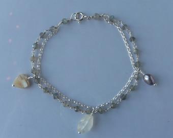 sterling silver labradorite rosary chain bracelet