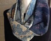 Beautiful Japanese fabric vintage kimono silk  & liberty cotton Infinity scarf cowl snood