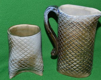 Vintage Bahar Ceramic sugar bowl  and Creamer Set  Milk Jug and Sugar Bowl  Midcentury Ceramics Handmade Stoneware Pottery  1959
